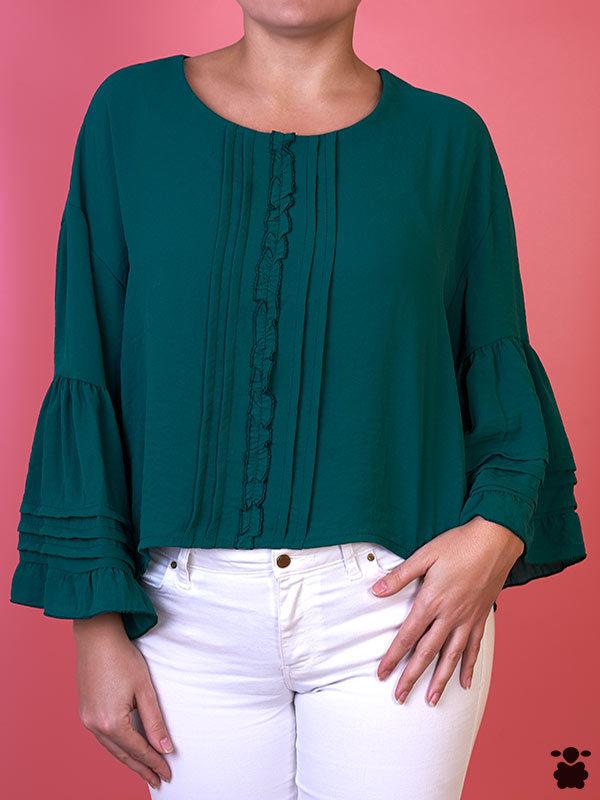 Camiseta Kanda, mangas largas, color verde, frontal