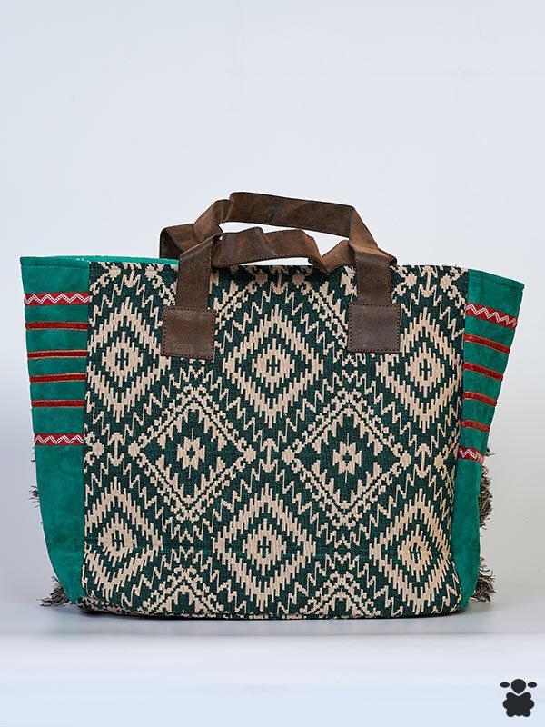 Bolso boho verde y burdeos con detalles étnicos