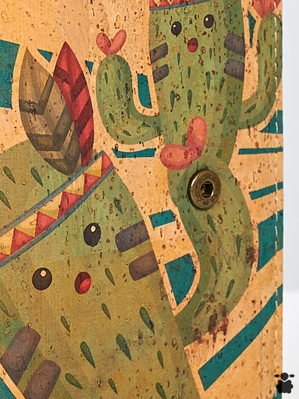 Cartera con estampado de cactus de colores, fabricado en corcho orgánico portugués