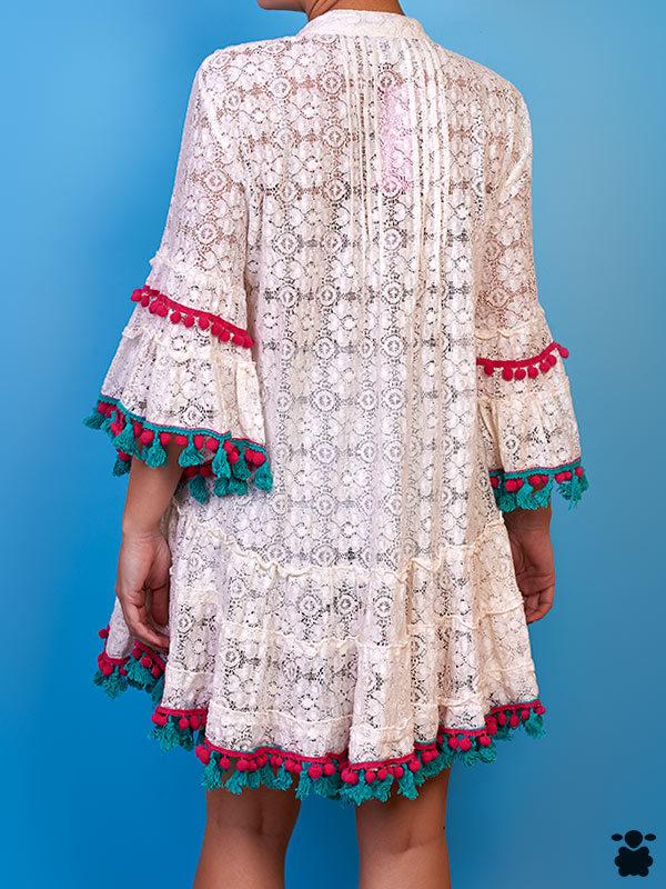 Vestido boho chic Yaboyé, bordado a mano 100% algodón
