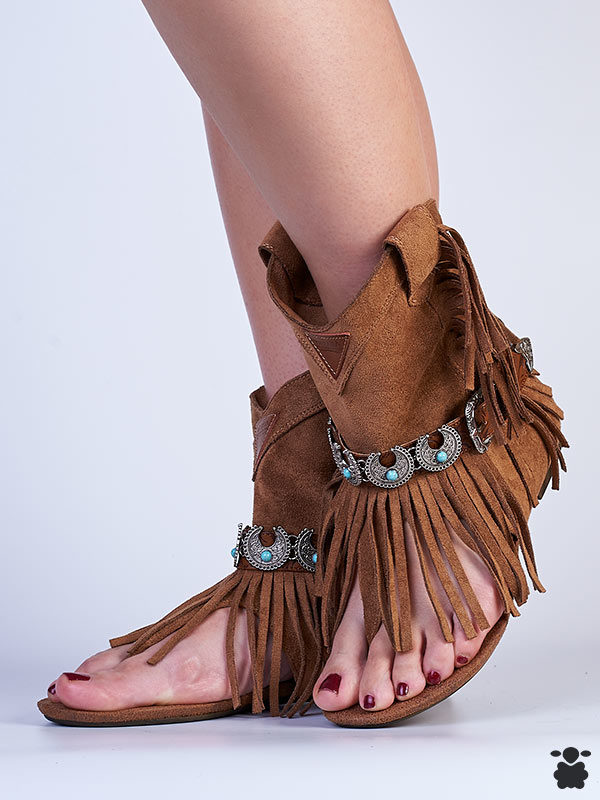 Sandalias boho chic color marrón - camel