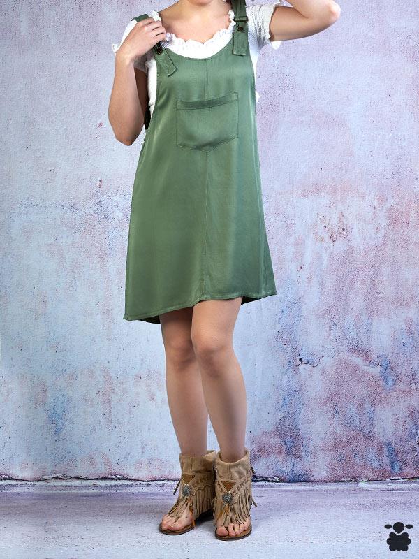 Vestido peto o pichi color verde oliva, agradable al tacto