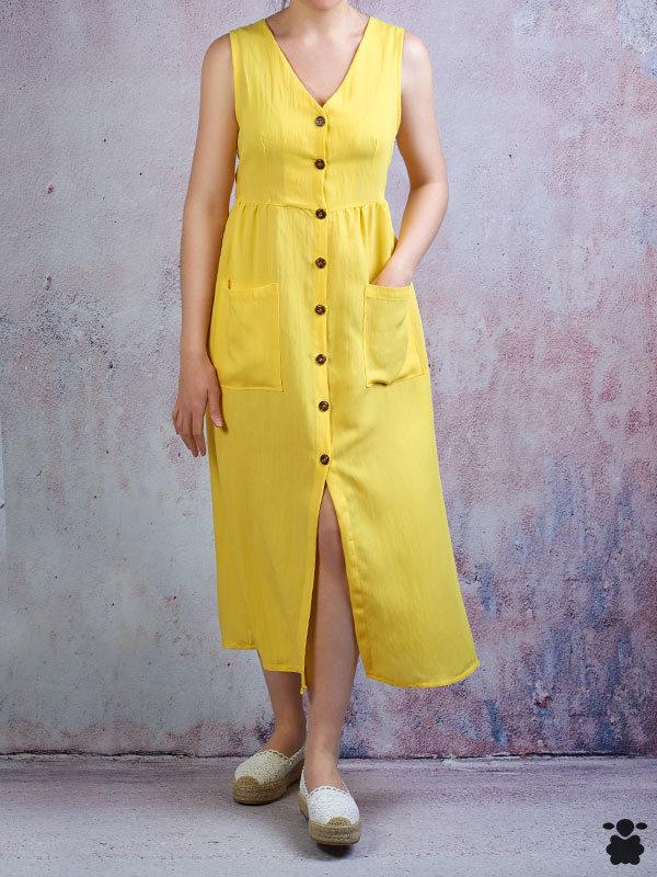 Vestido midi amarillo con botones