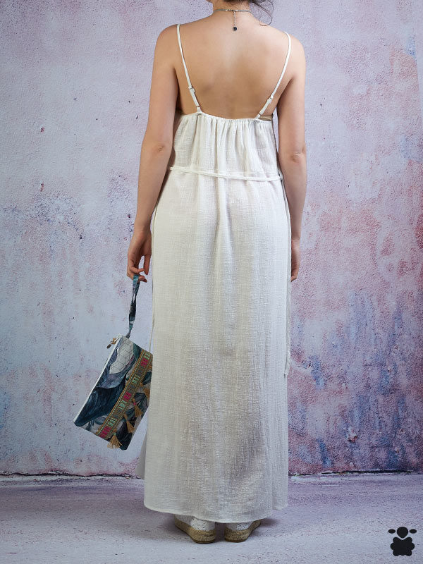 Vestido largo blanco fresco