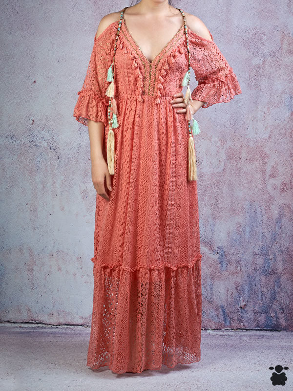 Vestido largo boho chic color coral