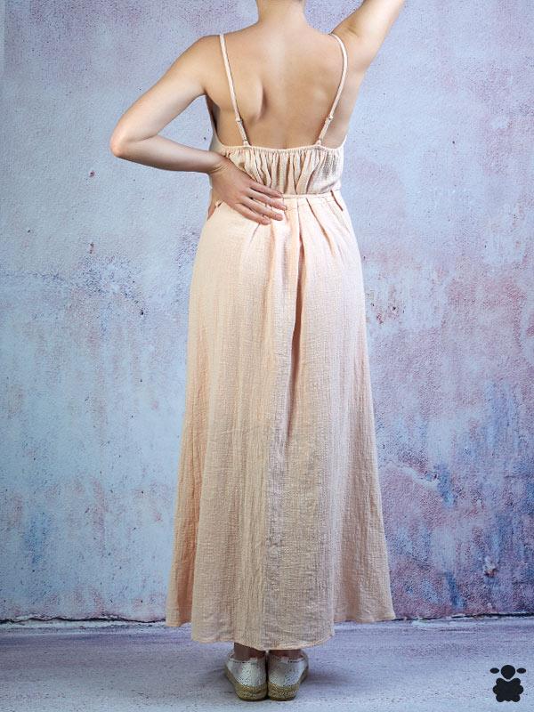 Vestido largo rosa fresco