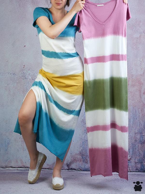 Vestido de rayas de colores
